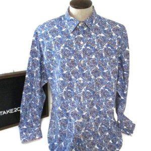 Tommy Bahama Men's Blue Paisley Shirt Large